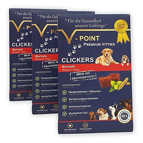 V-POINT Premium Vitties für Hunde Bierhefe CLICKER gegen Hautprobleme, Ekzeme, Verdauungsprobleme Immunschwäche, stumpfes Fell – vegan - Trainingsleckerli - Alternative zu Hundeleckerlie (3X 250g)
