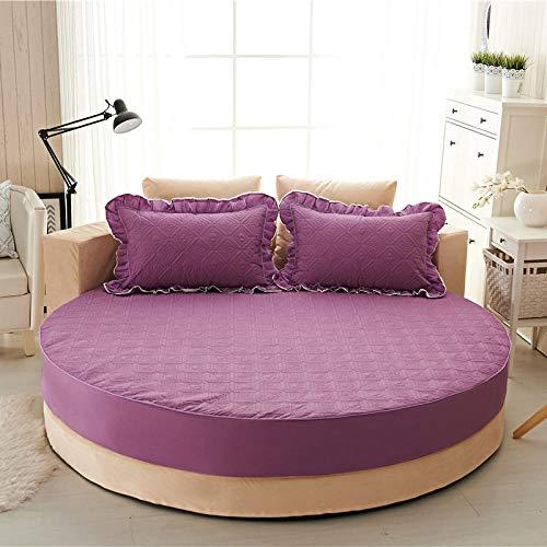 HPPSLT Protector de colchón Acolchado - Microfibra - Funda para colchon estira hasta Sábana de Cama Redonda de Puro algodón Quilted-Purple-Quilted_2.3m