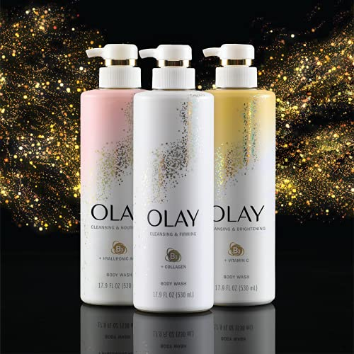Olay Body Wash with Collagen and Vitamin B3, Cleansing & Firming, 17.9 Fl Oz (Pack of 4)