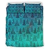 Juego de ropa de cama con diseño de árbol de Navidad (3 piezas, tejido de poliéster, funda nórdica súper suave con cremallera, incluye 1 funda nórdica y 2 fundas de almohada), color blanco