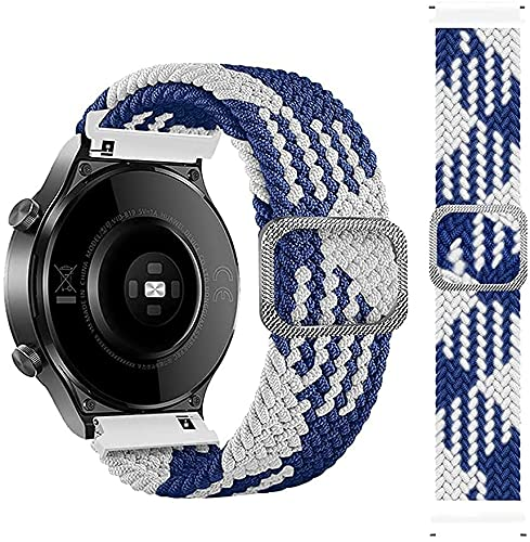 SeNool Correas Compatible con Huawei Watch 3 Pro /Watch 3 (22mm) Pulseras Reloj Banda Nailon Trenzada Loop Hebilla Ajustable de Compatible con Huawei Watch GT 2 46 mm /GT 2e /GT2 Pro /GT Azul Blanco