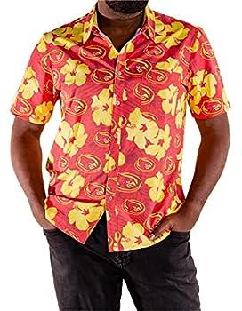 Tellum and Chop Men s Iowa State Cyclones Hawaiian Shirt Hibiscus Beach Shirt  Large