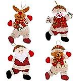Mirrwin Pequeñas Etiquetas Navideñas Decoración de Adornos de Arbol de Navidad Santa Claus Muñeco de Nieve Oso Alce Adecuado para Decorar Arboles de Navidad Chimeneas Mesas de Comedor y Paredes 4 PCS