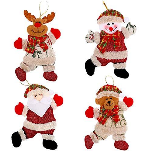 Mirrwin Appese Ornamento Regalo Tag Regalo Decorazione Natalizia Ciondolo Natalizio Babbo Natale Pupazzo di Neve Orso Alce Adatto per Decorare Alberi di Natale Caminetti Tavoli da Pranzo e Pareti 4PCS