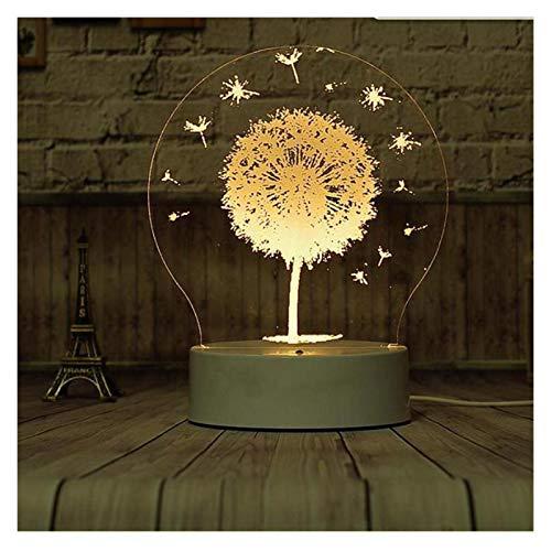 YSDSPTG Lampara de Mesa Diente de león LED lámpara 3D Three Color Cambiar 3D Luz de luz Luminaria LED Mesa de Mesa Lámpara de Mesa Decoración del hogar (Emitting Color : C)