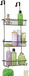 mDesign Extra Large Metal Over Shower Door Caddy, Hanging Bathroom Storage Organizer Center with Built-in Hooks and Baskets on 3 Levels for Shampoo, Body Wash, Loofahs - Bronze