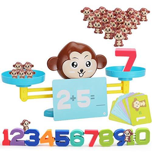 NIWWIN Juego de matemáticas de Equilibrio de Rana, Juguetes educativos de matemáticas para niños pequeños, Juguetes de conteo Preescolar Stem Montessori Regalo para niños niñas de 3 a 9 años (Mono)