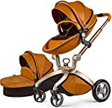 Hot Mom Baby Stroller Travel System,High Landscape Pram with Bassinet:PU Leather Pushchair with Cushion,2021 (Black)