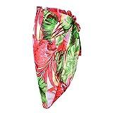 CHIC DIARY Damen Frauen elegant Sarong Pareo Strandtuch Bikini Wickelrock Wickeltuch farbig geblümt gedruckt Strand Schal Halstuch, Kokosnussbaum-grün, 145cmx115cm