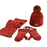 2020New niños 3 piezas gorro de invierno cálido gorro de bufanda larga...