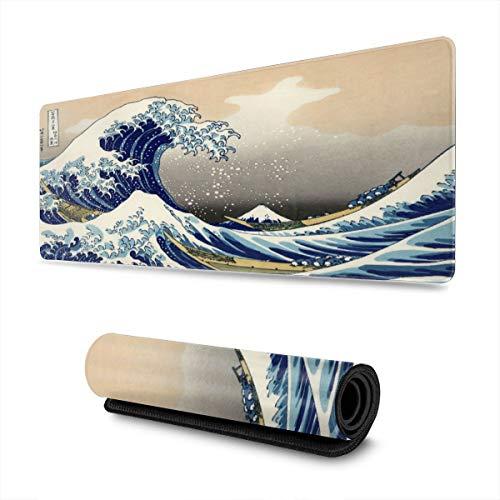 MouseWaves Katsushika Hokusai Ukiyo-e The Big Wave Off Kanagawa Desk Mousepad - 31.5'' X 11.8'' x0.12''(3mm) - AmimeMousePad