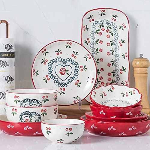 Juegos De Vajillas De Porcelana, vajilla de porcelana estilo granja Juego de 35   Tazn de cereal y plato de carne con diseo de cereza para regalos de boda
