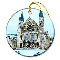 Reims フランス Saint-Remi Basilicaクリスマスオーナメントセラミックシート旅行お土産ギフト