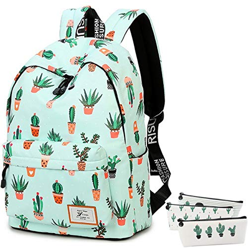 School Bookbag for Girls, Cute Water Resistant Laptop Backpack College Bags + 3pcs Pencil Cases(Water Blue-Cactus 2)