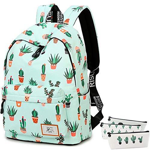 Cactus School Backpack Laptop Bag Girls Kids Boys Teens Bookbag with Pencil Case