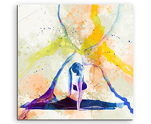 Yoga II 60x60cm Wandbild SPORTBILD Aquarell Art tolle Farben von Paul Sinus