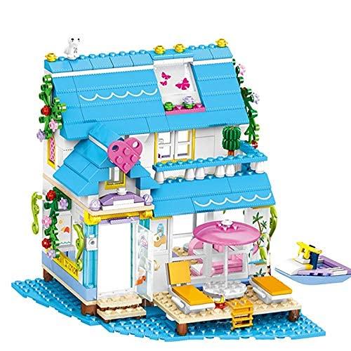 Bausteine 458 stücke Mädchen Bunte Meerblick Haus Bausteine Freunde Urlaub Reisen Meerblick Zimmer DIY Modell Ziegel Spielzeug Geschenke für Kinder