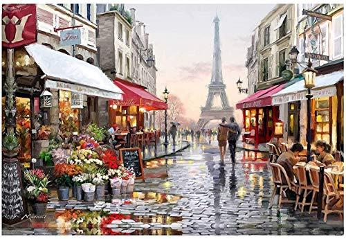 Lidiper Pintura por Números, Pintar por Numeros con Pinceles y Pinturas para la Decoración del Hogar DIY Conjunto Completo de Pinturas Sin Marco (Torre Eiffel 16x20 inch)