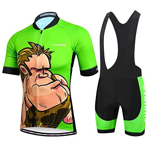 Maillot Ciclismo Hombre Verano, Ropa Ciclismo Manga Corta con Cremallera Completa y 3 Bolsillos Traseros y Culotte Ciclismo para MTB, Animados, XL