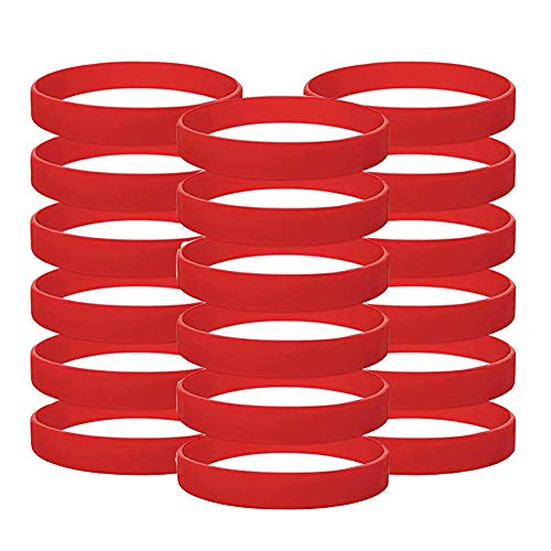 Vitalite - Juego de 100 pulseras de silicona para niños, Rojo