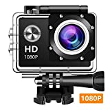 Action Camera, 12MP 1080P 2 Inch LCD Screen, Waterproof Sports Cam 140 Degree Wide Angle Lens, 30m Sport Camera DV Camcorder 10 Accessories Kit