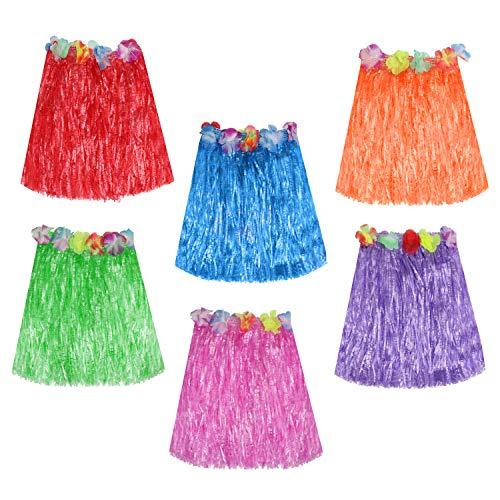 Kurtzy Hula Röcke (6er-Set) - 42cm Lange Multicolor Lei Hawaiian Grass Rock mit elastischem Bund, Klettband und Blumen für Hawaiikette Tänzer, Frauen, Mädchen und Erwachsene