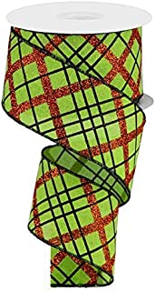 Wired Ribbon Glitter Diagonal Plaid on Royal Lime Green Orange Black for Wreaths Gift Wrapping 2.5