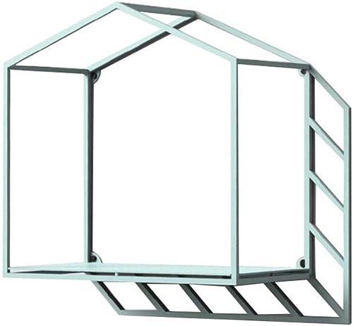 Willesego Originalit Kreative Wand Wand Praktische Einfache Pers ichkeit Eisen Kunst Geometrische Schatten Haus Regal Blau (Größe  43  17,5  31 cm) (Farbe   -, Größe   36  17  36cm)