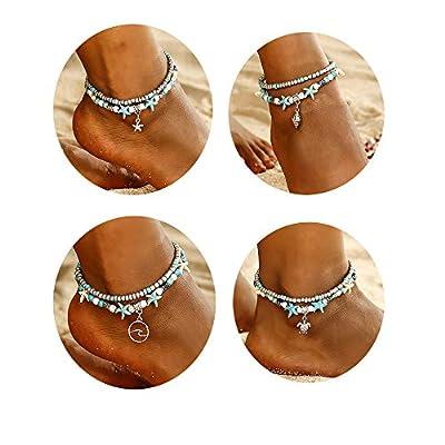 Joan Nunu 6PCS Anklets Women Girls Ankle Chains Bracelets Adjustable Beach Anklet Foot Jewelry Set