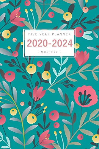 Five Year Planner 2020-2024: 6x9 Monthly Notebook Organizer Medium | 5 Year Planner - Jan 2020 to Dec 2024 | Airbrush Style Floral Design Teal