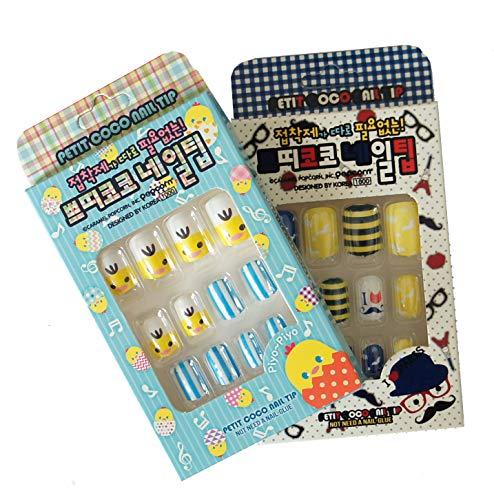 HAND Fun Enfants Faux Pas de colle Nail nécessaire Tip Set Assorted Designs 2 Packs