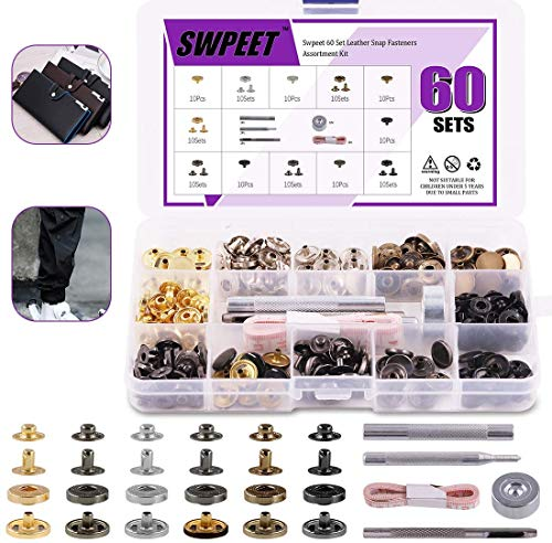 65Pcs 12.5mm Leather Snap Fasteners Kit, Including 6 Colors 60 Sets Leather Rivets with 4Pcs Fixing Tools and Soft Tape Measure, Metal Button Leather Snap Fasteners Press Studs Kit for Clothes