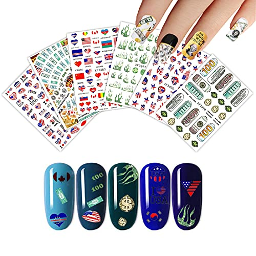 Independence Day Nail Art Stickers 6 Sheets July Fourth Nail Decals for Nail Art American Strips and Stars Dollars Money Words Flames Nail Supplies 3D Adhesive Nail Decors Beauty Charms Manicure Tip