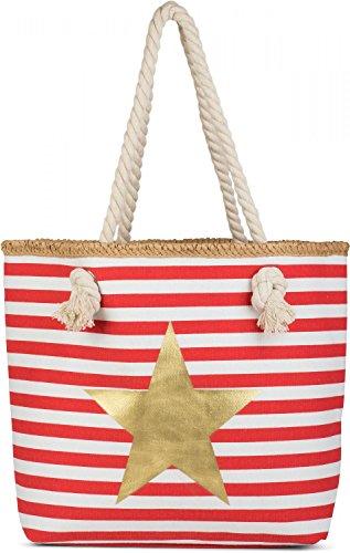 styleBREAKER Bolso para la Playa con Motivo marítimo, Estampado de Estrella y Cremallera, Bolso de Hombro, Bolso para Compras, señora 02012169, Color:Rojo-Blanco/Dorado