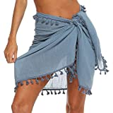 Pareo Playa de Mujer para Verano Cubierta de Bikini con Borlas Bufanda de Algodón Cover Up para Bañador Traje de Baño Falda Corta Ajustable para Piscina Mar Vacaciones (Azul, Talla Única)