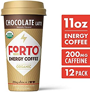 FORTO Energy Coffee – 200mg Caffeine, Chocolate Latte, Delicious & Organic Energy, Ready-To-Drink 11 Fl Oz, Pack of 12
