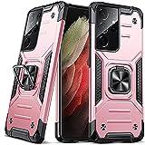 DASFOND Funda Galaxy S21 Ultra, Funda Protectora de Grado Militar para teléfono con Soporte de Anillo de Metal [Soporte de Montaje magnético] Compatible con Samsung Galaxy S21 Ultra, Oro Rosa
