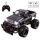"RC Big Wheel Beast Monster Truck Remote Control Pickup With Opening Doors Light Up LED Headlights Ready To Run Car Includes Rechargeable Battery 14"" 1:14 Scale Off-Road Buggy Toy Gift For Boys (Black)"