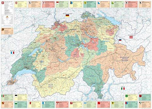 Schweiz Büro- + Organisationskarte Poster 1:275 000: Massstab 1:275000 (Kümmerly+Frey Thematische Karten, Relief)