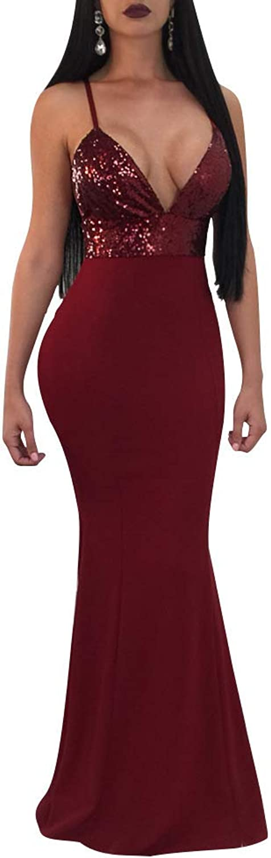 JireH Women's Ball Gown Dresses 1920s Sexy Sling Dress Split Sleeveless Evening Dresses