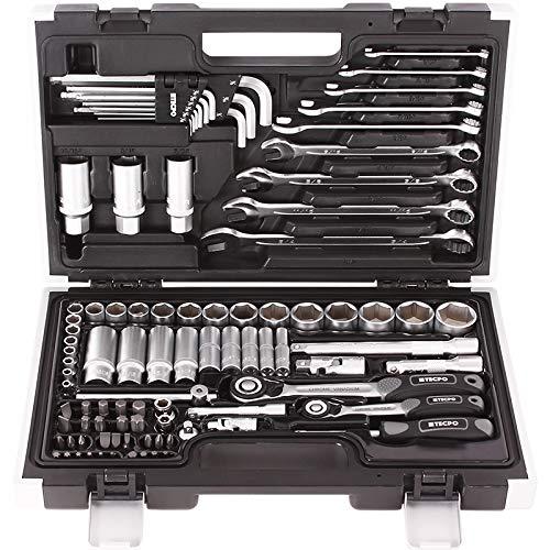 TECPO 300383 Zoll Werkzeug Satz Harley Steckschlüssel Nüsse Größen Nuss Set Ratschenkasten Knarrenkasten