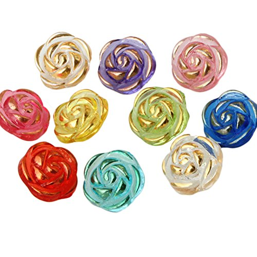 Westeng 100 Stück Rose Blume Acryl Knöpfe mit 2 Löchern 25 * 20mm kinder knöpfe zum Nähen Scrapbooking Handarbeiten DIY Zufällige Farbe