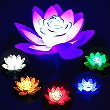 OKESYO LED Light Up Floating Lotus Light, waterdichte op batterijen werkende kunstlelies nachtlamp, festival landschap dec...