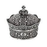 Hipiwe Vintage Jewelry Box, Antique Crown Design Trinket Treasure Chest Storage Organizer,Metal Earrings/Necklace/Ring Holder Case, Keepsake Giftb Box for Girls Women (Small)