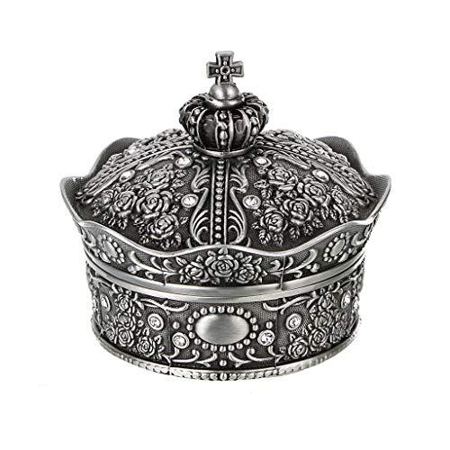 Sumnacon Joyero vintage pequeño expositor para anillos, collares, pendientes, joyas, caja organizadora de almacenamiento de plata envejecida, mini caja de recuerdos (pequeña corona)