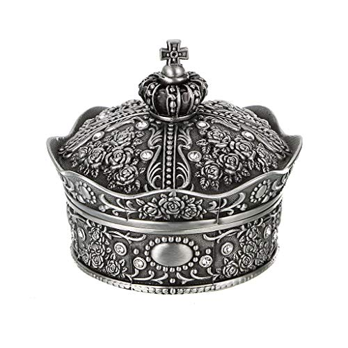 Sumnacon Vintage Jewellery Box Small Display Case for Ring Necklaces Earrings Trinket Storage Organizer Case Antique Silver Mini Keepsake Box(Small-Crown)