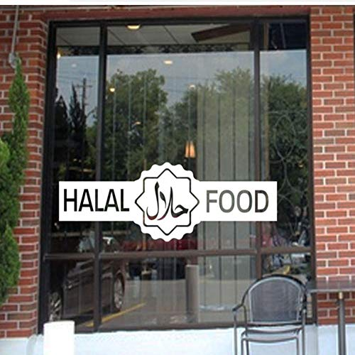 Halal bord Muurstickers Vinyl Shop Restaurants Voedsel Outlet Slagers Window Decor Decals Deur Muren Verwijderbaar 42x15cm