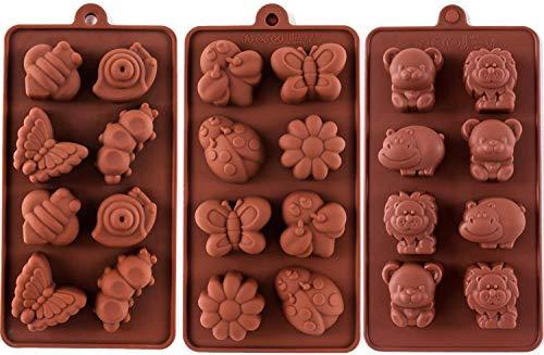 UTRUGAN 3 Stück Tier Shokoladeformen Tier Silikonformen Silikon Backform Tier Pralinenform Silikonformen für die Herstellung von Schokolade, Süßigkeiten, Gelee, Eiswürfel (2 Größen)