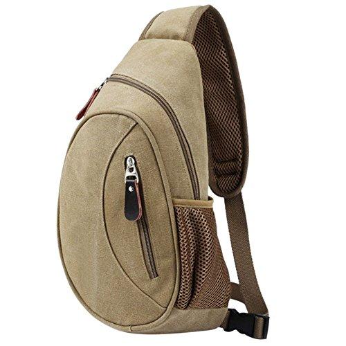 Cdet Multifunctional Shoulder Bag Backpack Crossbody Bag Outdoor Sports Travel Shoulder Chest Bag Canvas Daypacks, canvas, khaki, 38*18*9cm