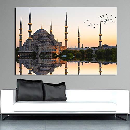 KWzEQ Moschee drucken Leinwand Malerei Wohnzimmer Hauptdekoration Ölgemälde Moderne Wandkunst Poster Bilder,Rahmenlose Malerei,60x90cm